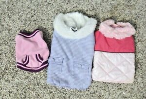 Girl Dog Clothes 3 Gently used Outfits Lot SIZE Small S Hoodie puffer jacket