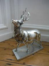 Stunning Large Silver Stag Deer Reindeer Antlers Ornament on Base FREE POSTAGE