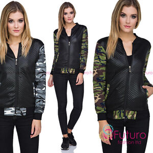 Ladies Bomber Biker Quilted Camouflage Zip Up Long Sleeve Jacket Army Coat FZ90