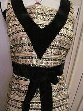 designer to the stars vintage jean varon gold and black  brocade dress size 10