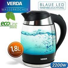 Wasserkocher 1,8L 2200W Kalkfilter LED Beleuchtung Kabelloss Glas SN0618L