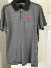 Jack and Jones mens polo T shirt Grey and White fine stripe XL