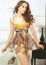 Sexy Leopard Print Sheer Chemise Babydoll Mini Dress with Thong (Free size)7103