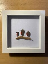 HANDMADE BEACH PEBBLE WALL ART PICTURE, 3 SKINNY ROBINS LOOKING LEFT