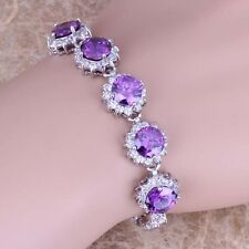 Purple Amethyst White Topaz Silver Link Chain Bracelet 7 inch For Women S0623