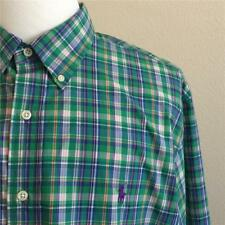 Ralph Lauren Mens Green Plaid Slim Fit Long Sleeve Shirt 2XL