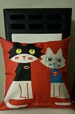 "NEW Superman & Batman STUPER CATS Linen Throw Pillow Case Cover 18"" US Seller"