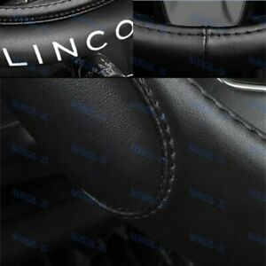 """For LINCOLN Black 15"""" Diameter Car Auto Steering Wheel Cover Genuine Leather"""