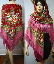 "Russian,Gypsy Floral Shawl Fringed Huge 154cm/61"" Pink/Red  ""Posad style"", wool"
