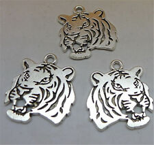 P1012 5pc Tibetan Silver Tiger Head Charm Beads Pendant accessories wholesale