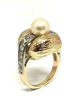 Bague ancienne en or 18 carats 750/1000 , perle et diamants , 9,75 grammes