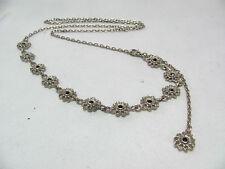 Vintage Silver Chain Flower Link Belt Go Go Delicate Signed EH Mod Disco