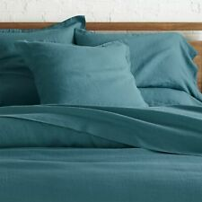 Crate & and Barrel LINO TEAL EURO PILLOW SHAM x 1- LINEN- NWOT- NEW- FABULOUS!