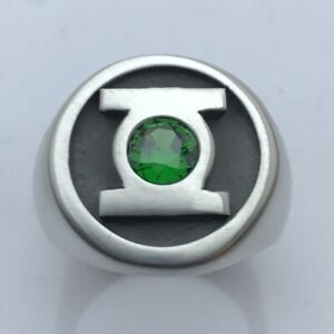 MJG STERLING SILVER GREEN LANTERN RING. ROUND TOP. 6mm CZ. SZ 10. COMIC CON