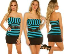 Sexy Bandeau Top Striped with Belt Push up Summer Top Blouse Shirt Longtop TK
