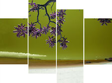 """Large 30"""" High X 40""""+ Long Super Beach Olive Green Canvas Picture Multi 4 Panel"""