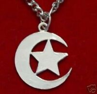 COOL New Moon and Star Pendant Sterling Silver 925 Islam Muslim Charm Jewelry Is