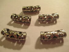 9 Tibetan Silver 22x7 mm Floral Curved Large Hole Tube Bail beads   ABCX