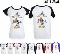 Disney Mickey Mouse Castle Design Couple T-Shirt Men's Women's Graphic Tee Tops