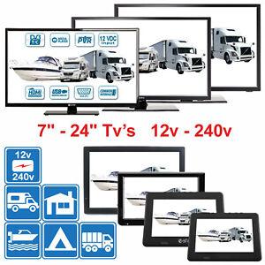"7"" - 24"" Digital TV 12v 240v for Motorhome Caravan Boat DVB-T2 Freeview PVR"