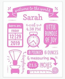 Personalised New Birth details stats Baby Girl/Boy Print Welcoming Gift Nursery