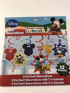 DISNEY MICKEY MOUSE CLUBHOUSE Hanging Foil Swirl Party Supplies DECORATIONS 12pc