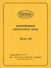 Oliver Cletrac Hg Crawler Tractor Maintenance Instructions Reprint