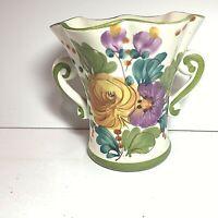 Vintage Floral Vase Multi Color Handpainted  Made in Portugal