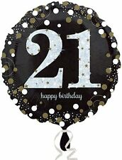 "18"" Black & Silver 21 Happy Birthday Foil Balloon Adults 21st Party Decoration"