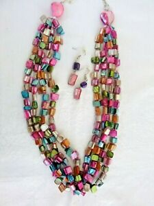 Artisan 4-Strand Multi-Color Dyed Shell Necklace Earrings Set Pierced Dangles