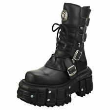 New Rock New Punk And Rock Unisex Black Leather Platform Boots
