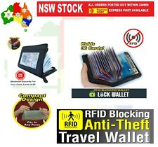 RFID Lock Wallet Blocking Anti Scan Zipper Men Women Credit Card Holder PU Black
