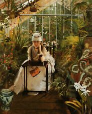 Wholesale oil painting John Atkinson - Young lady seated in spring Flower shop