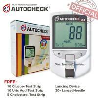 Autocheck Blood Glucose Cholesterol Uric Acid GCU 3in1 Monitoring Device System