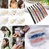 Fashion Women Pearl Hair Clip Snap Crystal Barrette Hairpin Headwear Acces