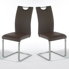 Schwingstuhl Paolo 4er Set Esszimmerstuhl Stuhl in braun und Edelstahl