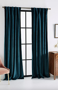 Anthropologie Teal Velvet Louise Curtain - 50 by 84 Inches