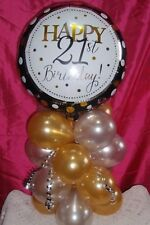 FOIL BALLOON  TABLE DECORATION DISPLAY AGE 21 21ST BIRTHDAY SILVER & GOLD