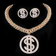 Gold Plated Crystal Dollar Sign with Thick Box Chain 4 & 2 pieces Jewelry Set