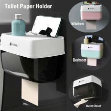 Toilet Paper Holder Bathroom Roll Tissue Box Dispenser Rack Storage Wall Mount