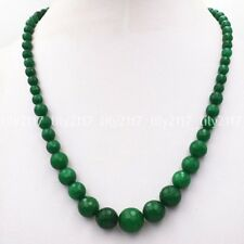 "New 6-14mm Green Faceted Natural Emerald Round Gemstone Beads Necklace 18"" AAA"