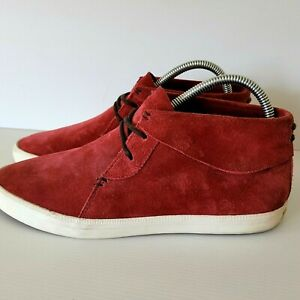 ESPRIT Lace Up Red Suede Low Boots Bootie Sneakers Shoe Womens Sz 39 Like NEW