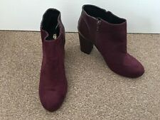 Ladies River Island Maroon Faux Suede Ankle Boots Size 7 Autumn Winter SB14