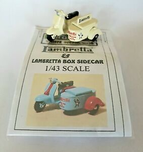 1/43 scale O gauge vintage 1960s Lambretta Scooter & Box Sidecar metal model kit