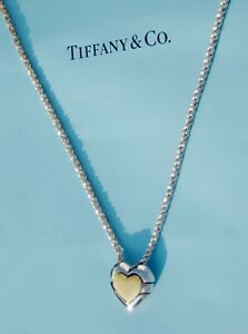 Tiffany & Co 18 ct Gold Sterling Silver Chain Heart Jigsaw Puzzle Rope Necklace
