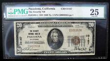 $20 Security National Bank of Pasadena, CA VF25 ~ LOW SERIAL #353 - CH# 10167