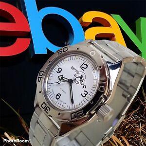 New Mens Automatic Watch Vostok Amphibian 670920 White Dial Scuba dude 200m