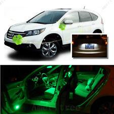 For Honda CRV 2007 - 2012 Green LED Interior Kit + Xenon White License Light LED