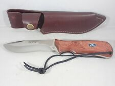 "BUCK 4 1/2"" FIXED-BLADE KNIFE MADE IN USA #497 ERGOHUNTER BOS 12C27M WOOD HANDLE"