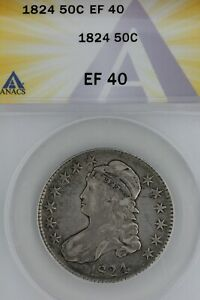 1824   50C  XF 40   ANACS  --   Capped Bust Half Dollar, Miss Liberty